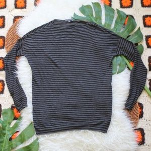 Vince Striped Long Sleeve Top Gray Black Size M